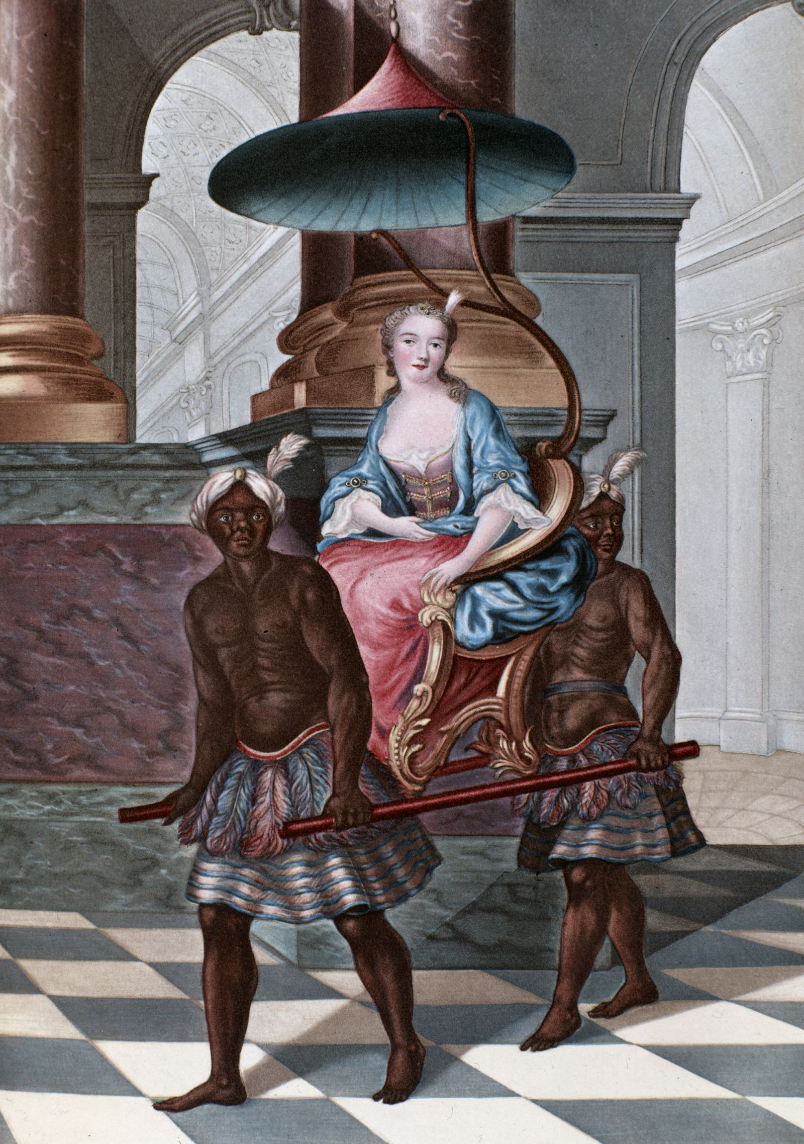 18th century depiction of a woman carried on a sedan chair by african servants