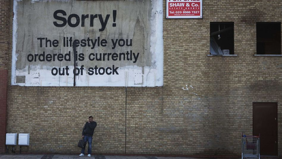 A work by the graffiti artist Banksy in London.