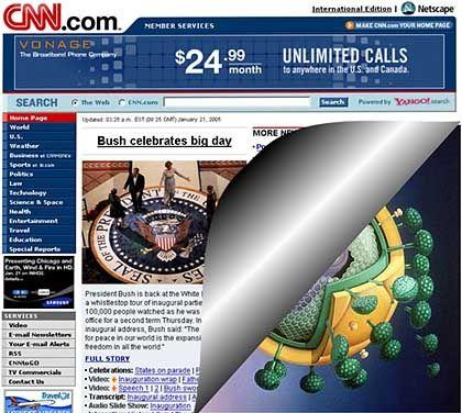 Gefährliche Sache: In vielen heute verschickten, angeblichen CNN-News zu George Bushs zweiter Amtseinführung ist der Wurm drin