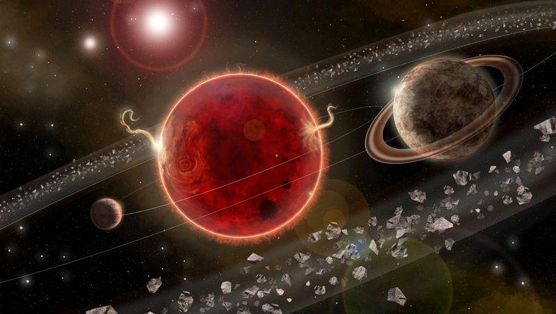 Planeten um Proxima Centauri (künstlerische Darstellung): Drei Viertel aller Sterne in unserer Heimatgalaxie sind Zwergsterne