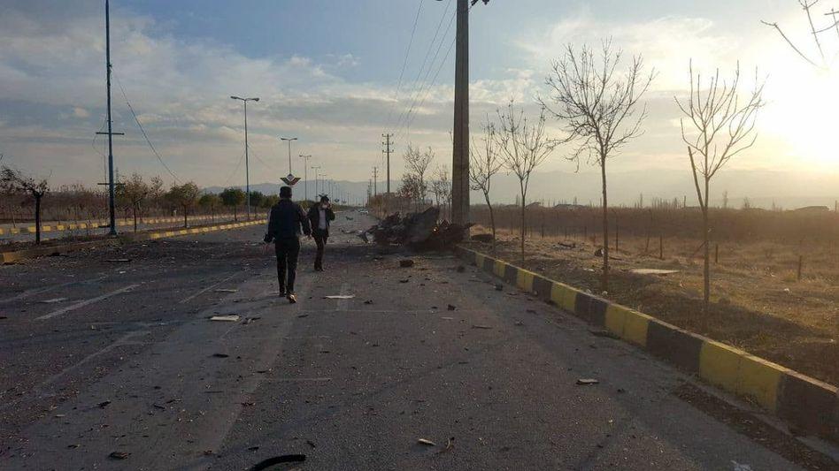 Ort des Attentats auf den iranischen Atomwissenschaftler Mohsen Fakhrizadeh