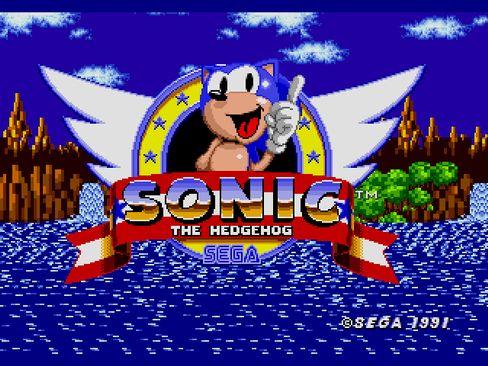 Im Titelbildschirm grüßt Sonic von der Mitte eines Fliegeremblems aus - ein Relikt aus dem Entstehungsprozess der Figur