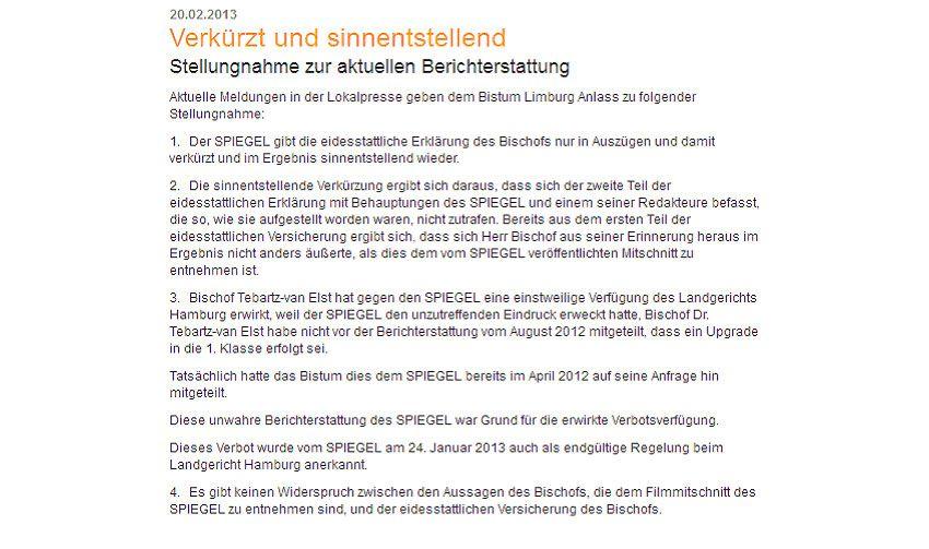 EINMALIGE VERWENDUNG Bischof von Limburg Screen #0
