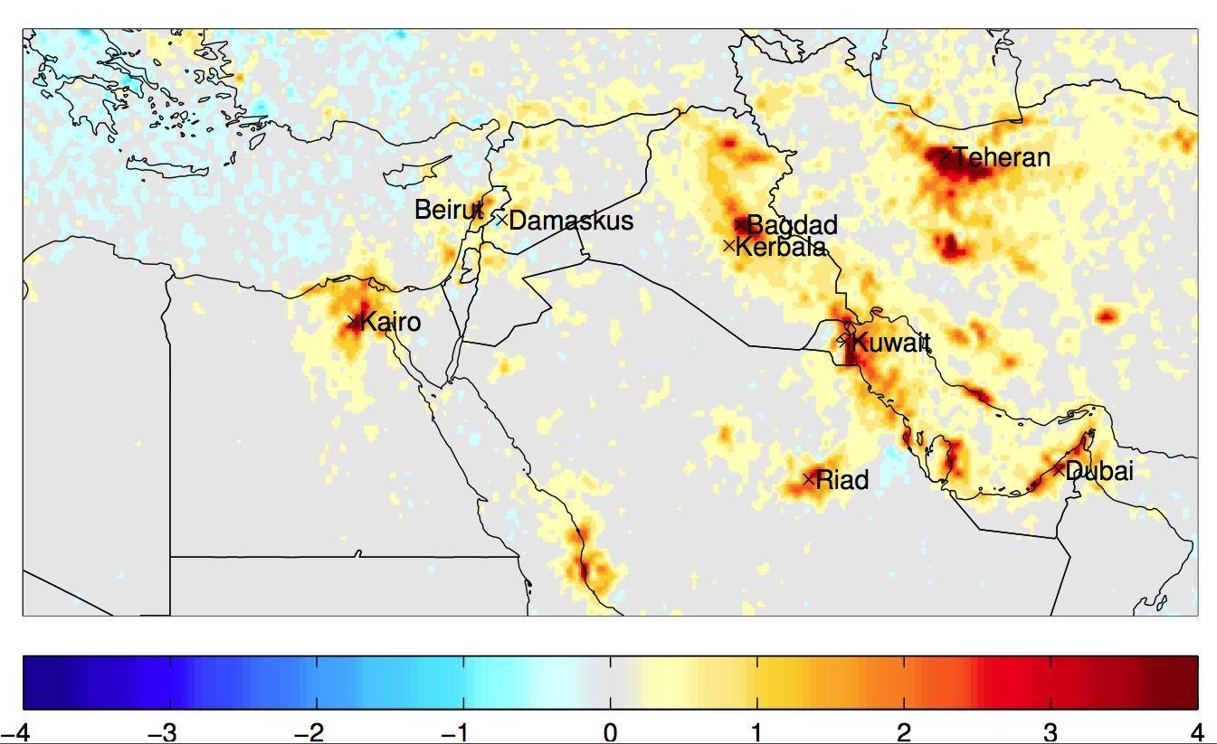 EINMALIGE VERWENDUNG Satbild Syrien / Atmosphrische Spuren