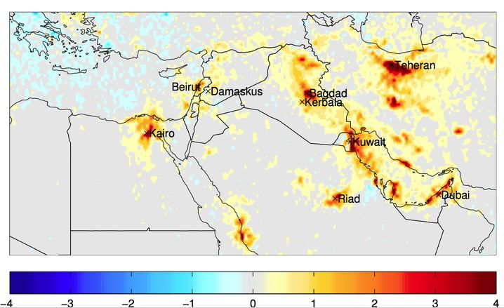 Von 2005 bis 2010 ist der Stickstoffausstoß fast in der gesamten Region gestiegen. Die Farben geben die Änderungen der Konzentration in 10 hoch 15 Molekülen pro Quadratzentimeter Luft an.