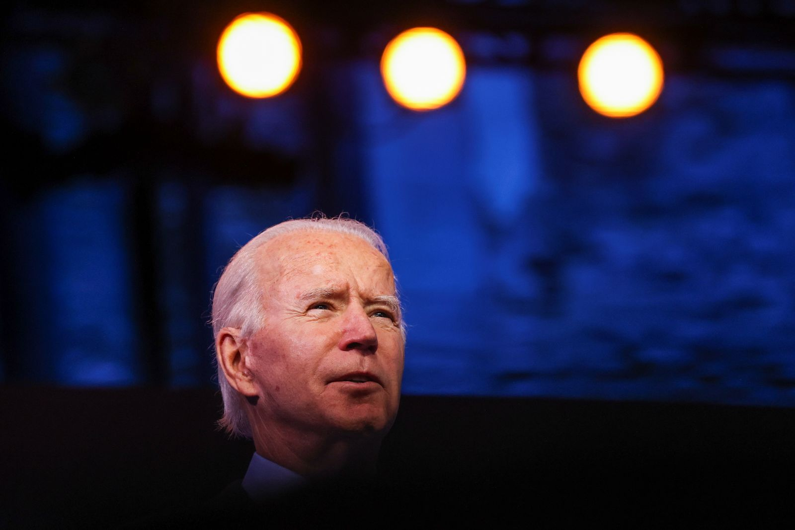 U.S. President-elect Joe Biden delivers a speech after a conference video call in Wilmington