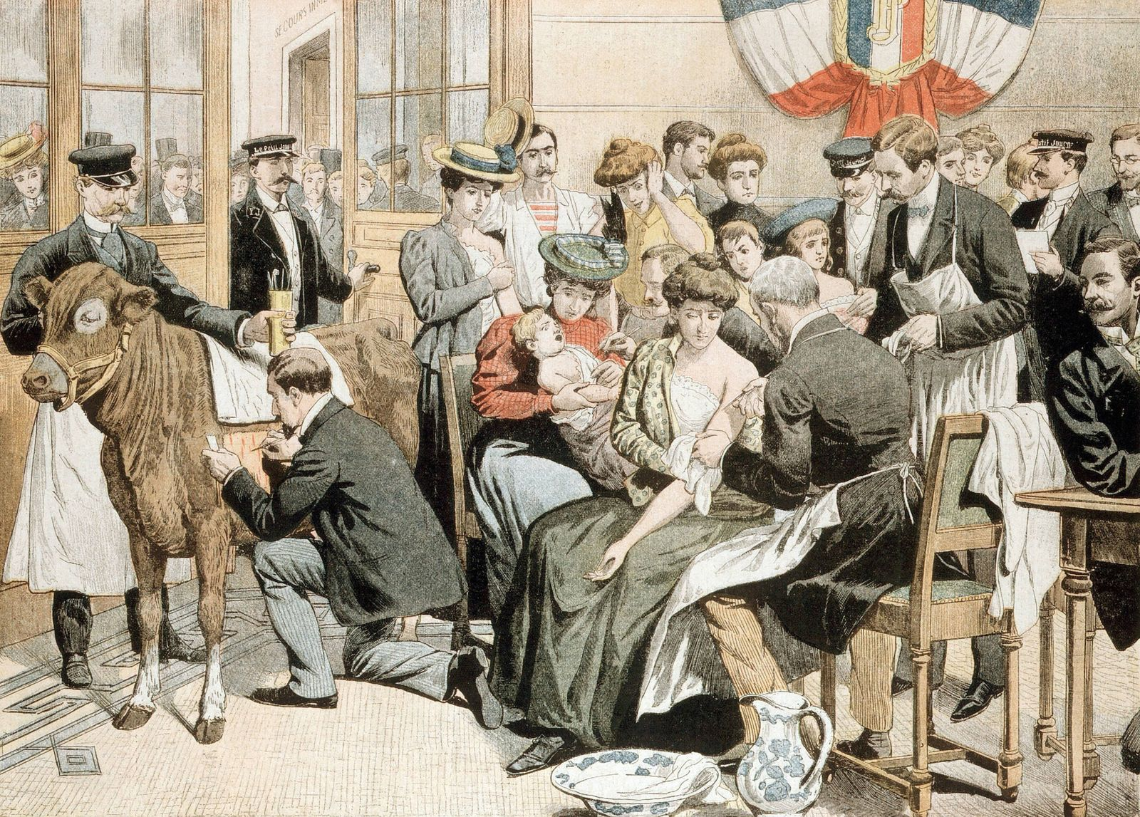 Free vaccination against Smallpox clinic on premises of French newspaper Free vaccination clinic on