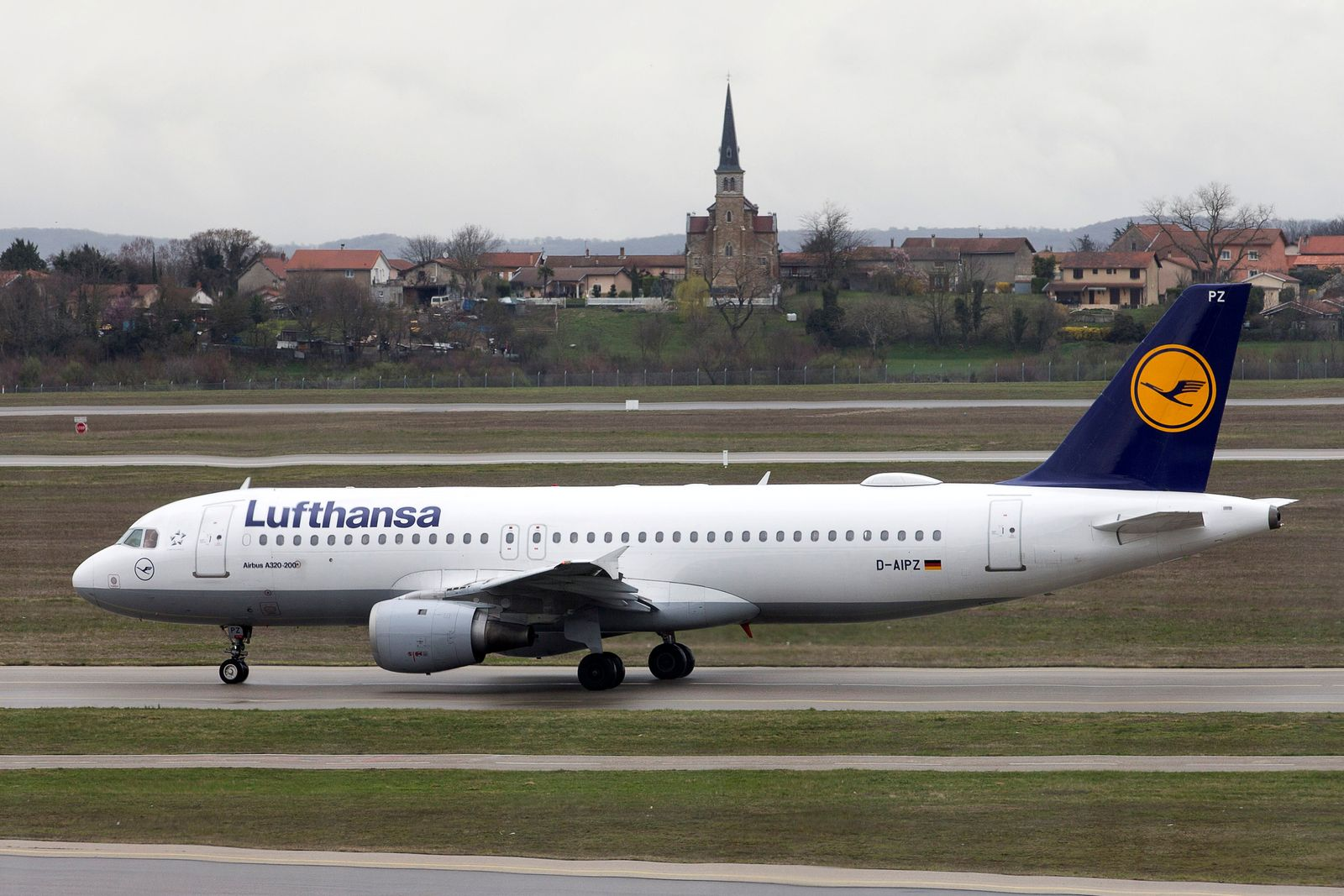 FILE PHOTO: A Lufthansa Airbus A320-200 plane is seen on the tarmac at the Lyon-Saint-Exupery airport in Colombier-Saugnieu near Lyon