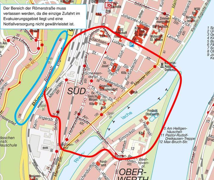 Sperrzone in der Koblenzer Südstadt: Räumdienst entschärft Fliegerbombe