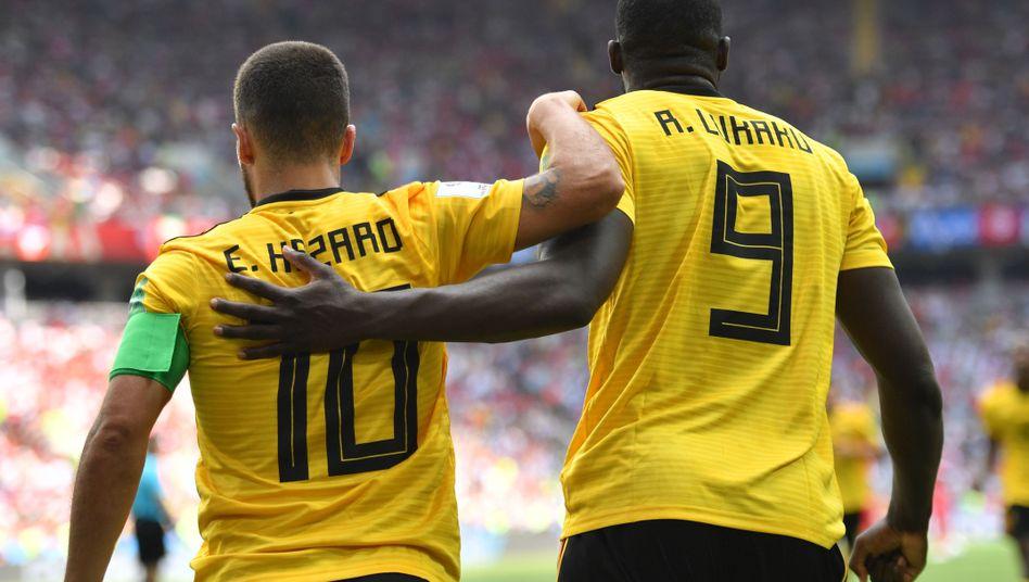 Eden Hazard (l.) mit Romelu Lukaku