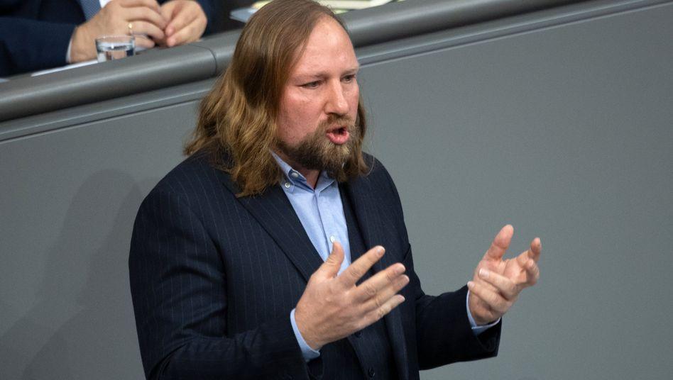Grünenfraktionschef Anton Hofreiter während einer Rede im Bundestag