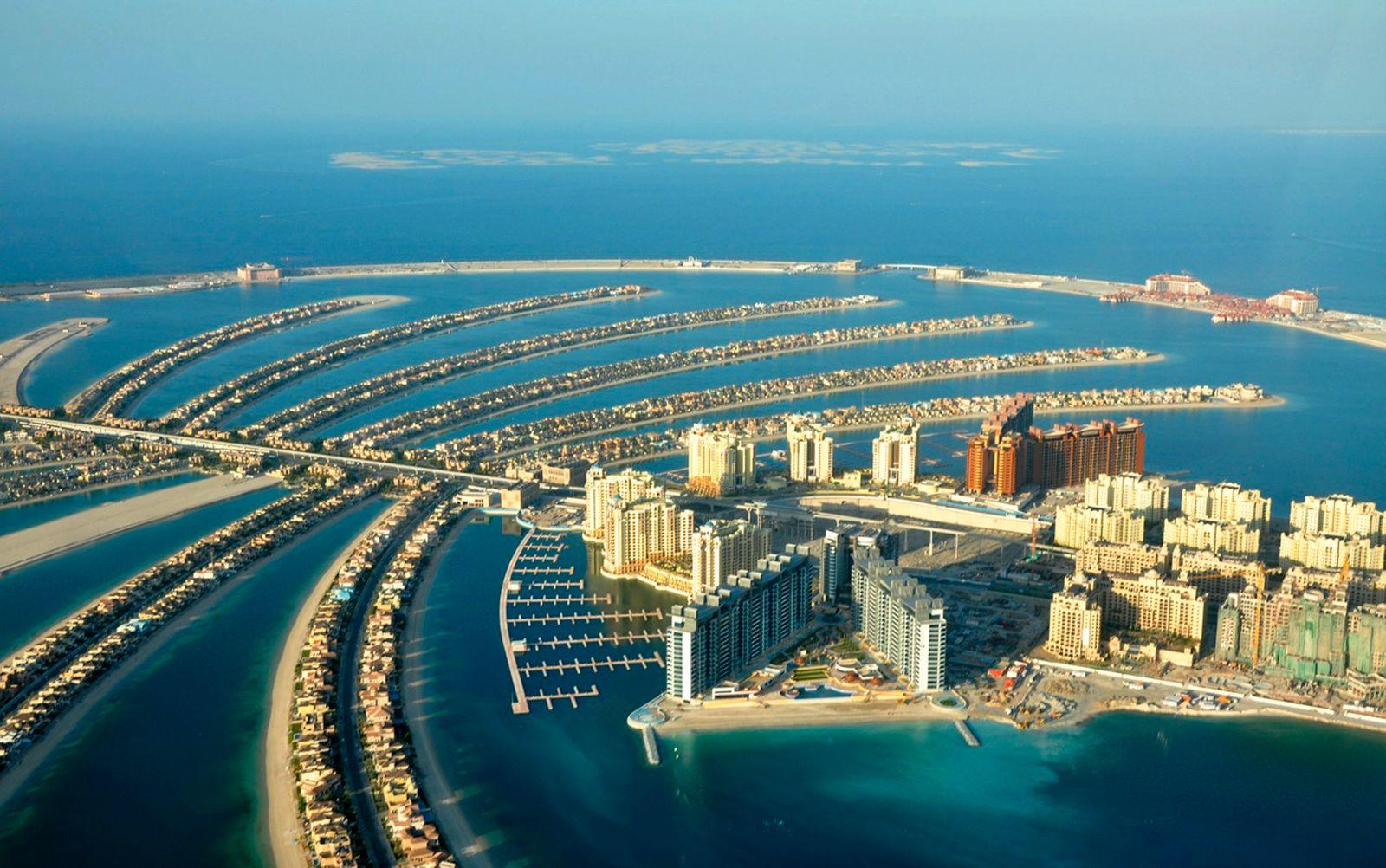 An aerial view of Dubai's Palm Island
