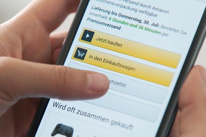 Amazon-App auf dem Smartphone (Symbolbild)