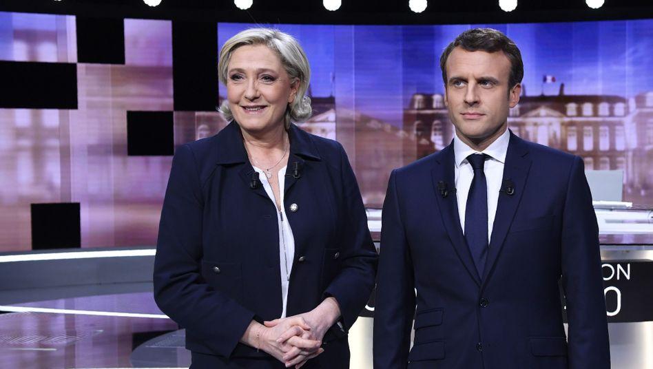 Präsidentschaftskandidaten Marine Le Pen und Emmanuel Macron