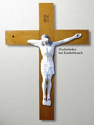 """Entwurf von Klaus Ketterle: """"Nicht alle, aber all zu viele Diener Gottes vergreifen sich an Kindern. Die Bestrafung ist lediglich die Versetzung in eine andere Gemeinde."""""""