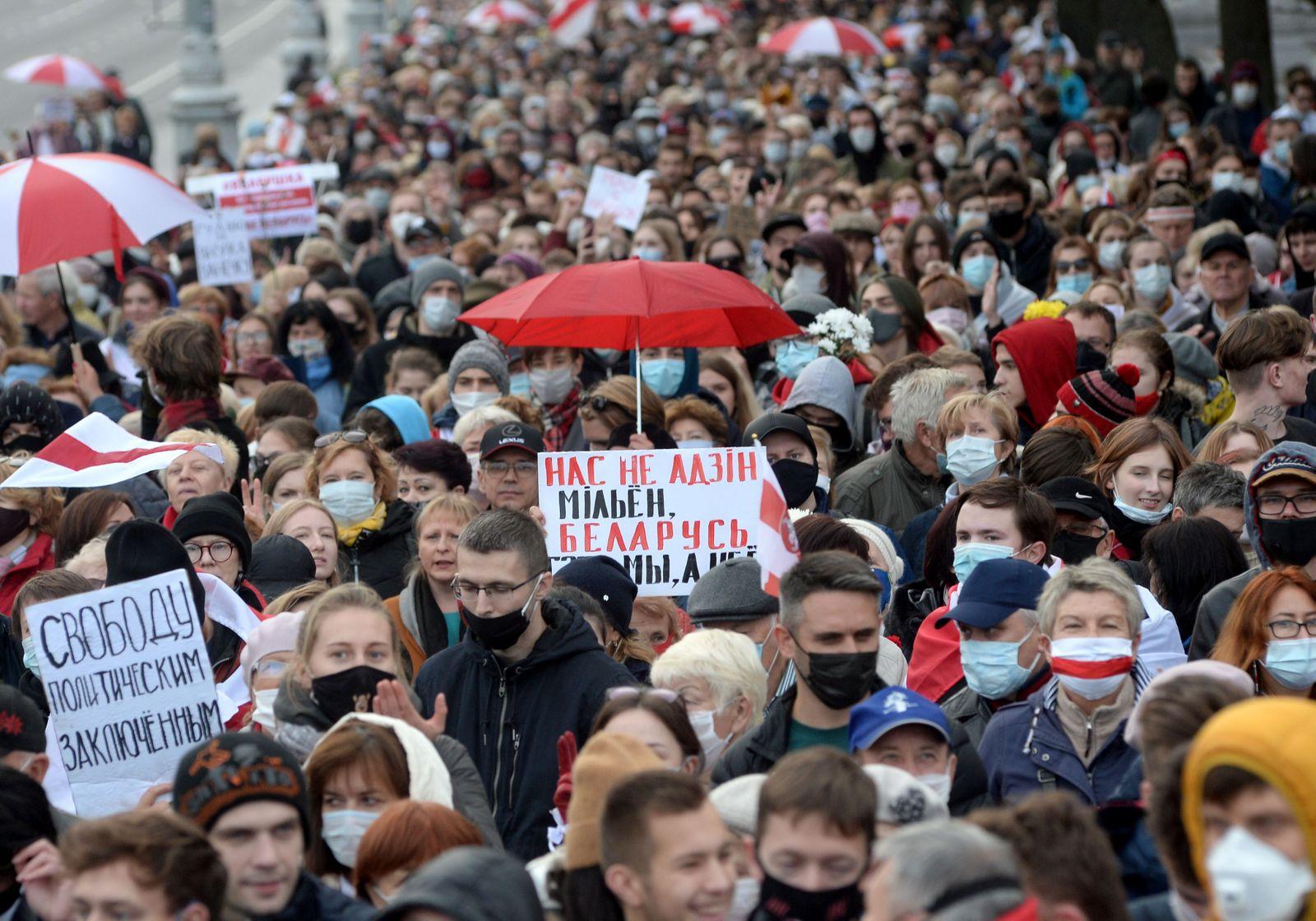 Pensioners protest in Minsk, Belarus - 26 Oct 2020