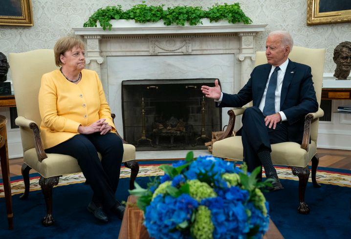 Kanzlerin Angela Merkel, US-Präsident Joe Biden am 15. Juli im Weißen Haus: Da klang alles noch etwas anders
