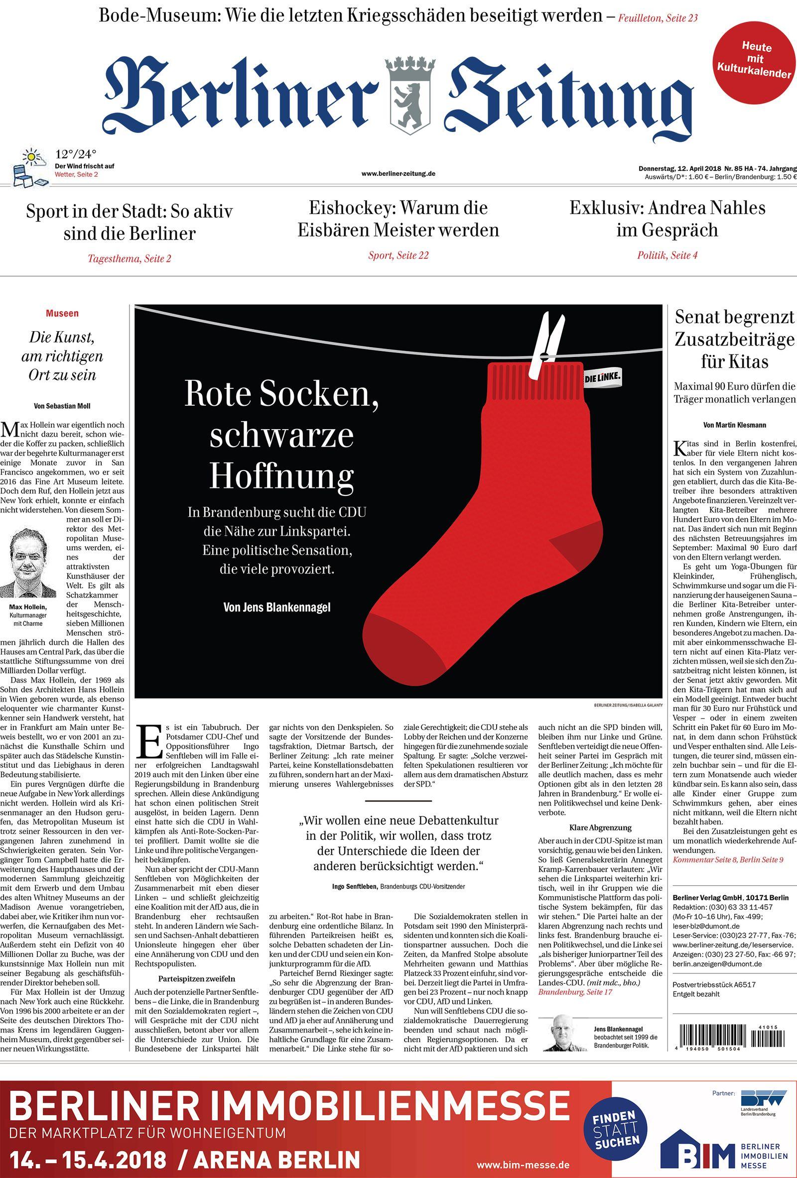 EINMALIGE VERWENDUNG NUR ALS ZITAT / Berliner Zeitung / Cover