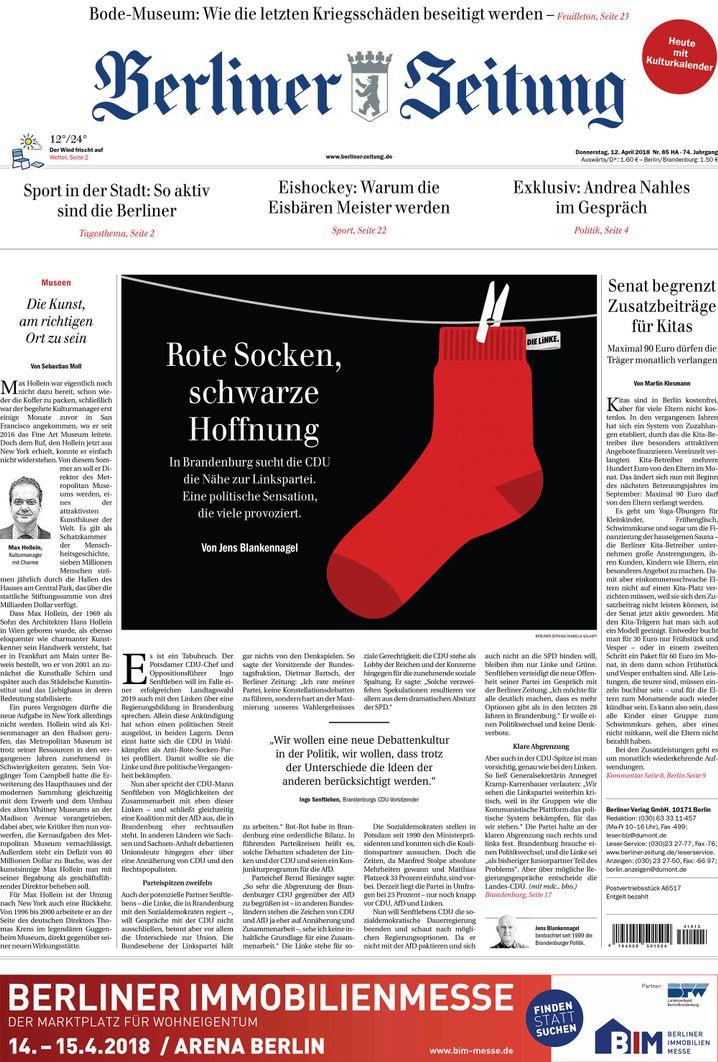 """Titelseite der """"Berliner Zeitung"""" vom Donnerstag"""