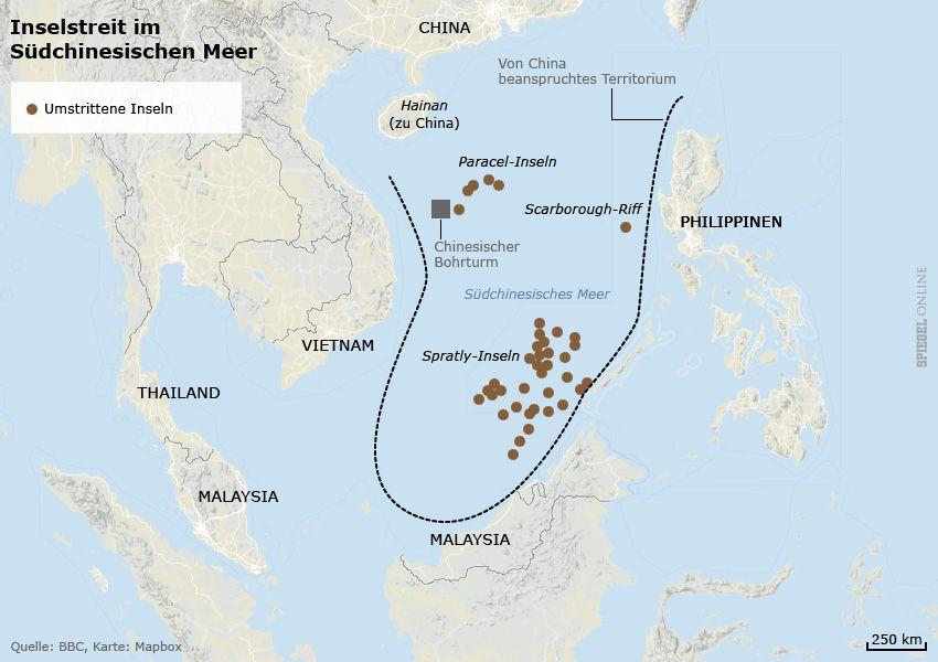 Karte Spratly-Inseln - China - Streit im Südchinesischen Meer
