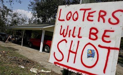 Pascagoula, Mississippi: Warnschild für Plünderer