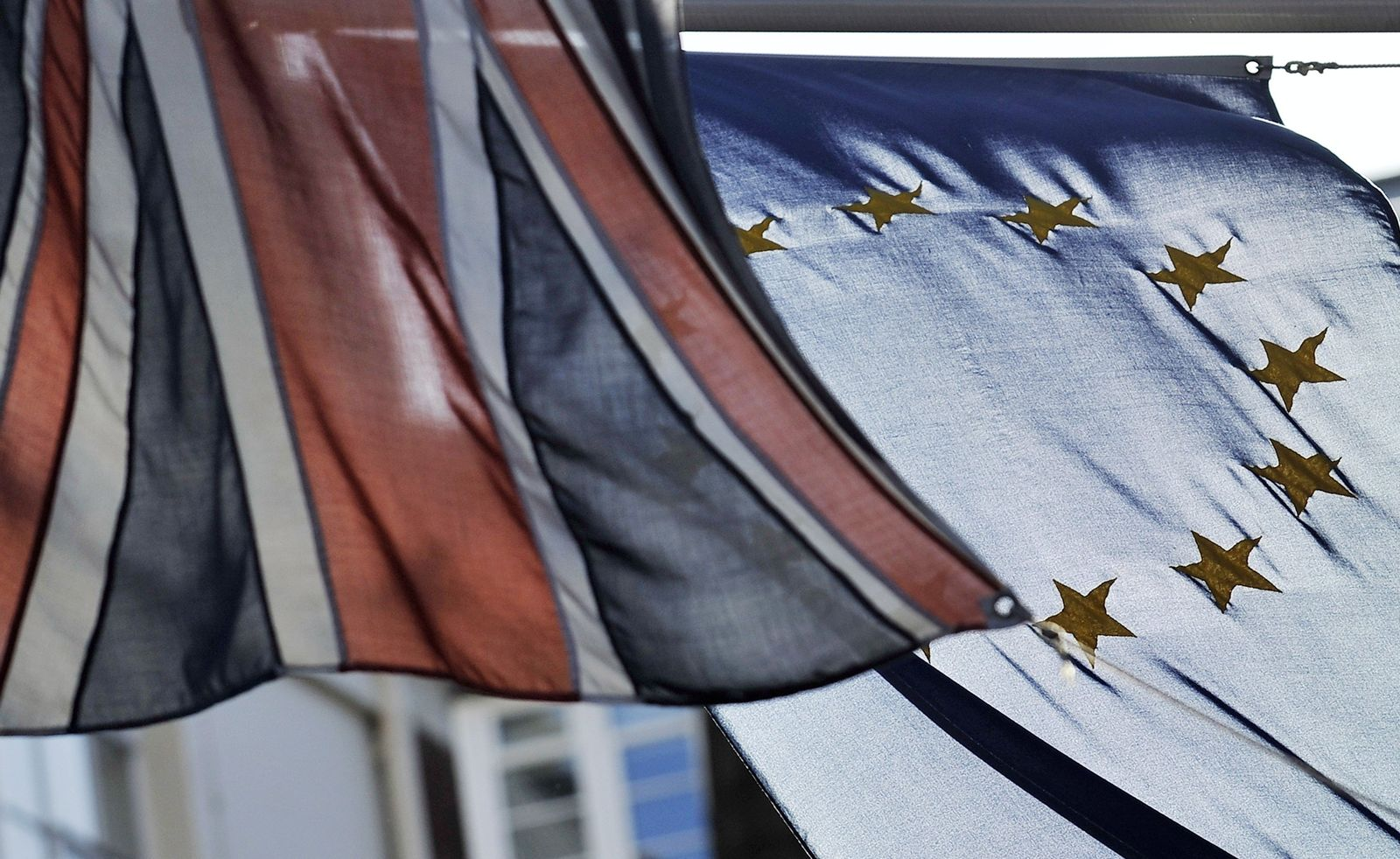 Union Jack/ Eu-Flagge / England Finanzkrise