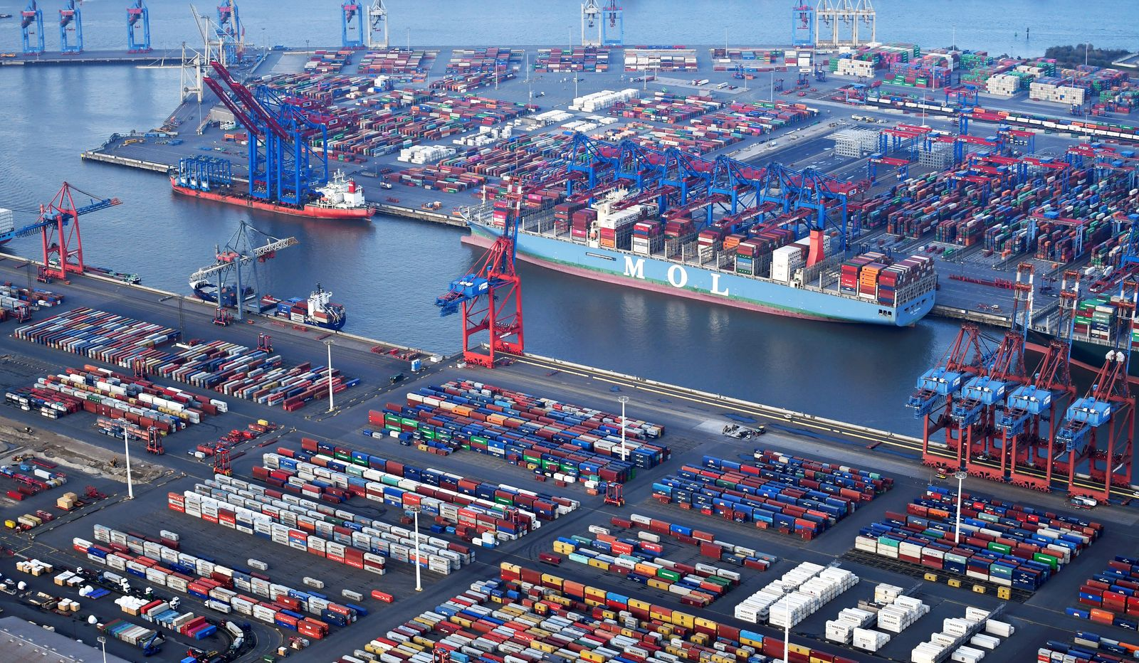 Aerial view of a container terminal in the port of Hamburg