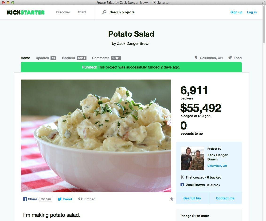 NUR ALS ZITAT Screenshot Kickstarter Kartoffelsalat