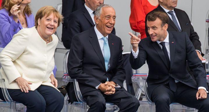 Bundeskanzlerin Angela Merkel, Portugals Präsident Marcelo Rebelo de Sousa und Frankreichs Präsident Emmanuel Macron