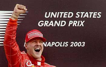 Michael Schumacher fuhr in Indianapolis seinem sechsten WM-Titel entgegen