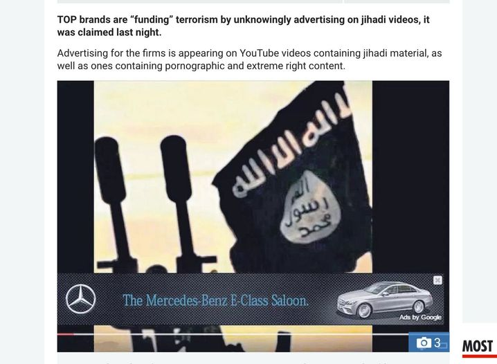 Ausschnitt aus YouTube-Clip des IS mit Mercedes-Werbung: Programmatic Advertising