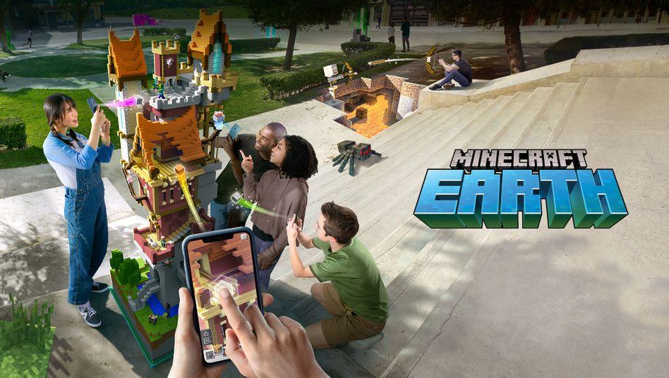 Werbebild zu »Minecraft Earth«: Ein Spiel für draußen
