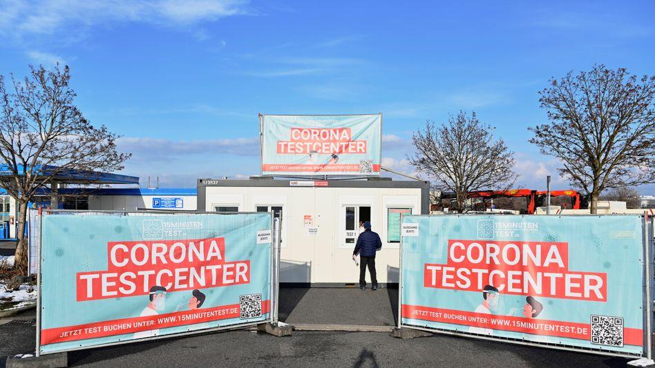 Corona-Testzentrum in Kodersdorf in Sachsen