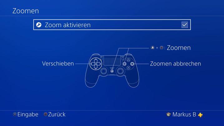 Zoomfunktion der Playstation 4