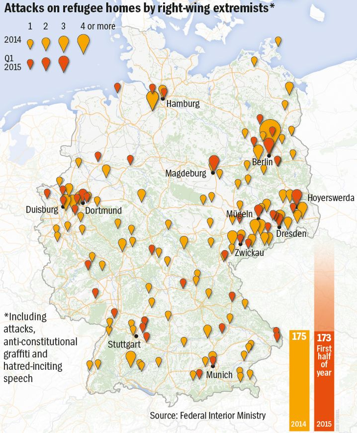 Map: Right-wing extremist attacks on hostels for asylum-seekers in 2014 and 2015.
