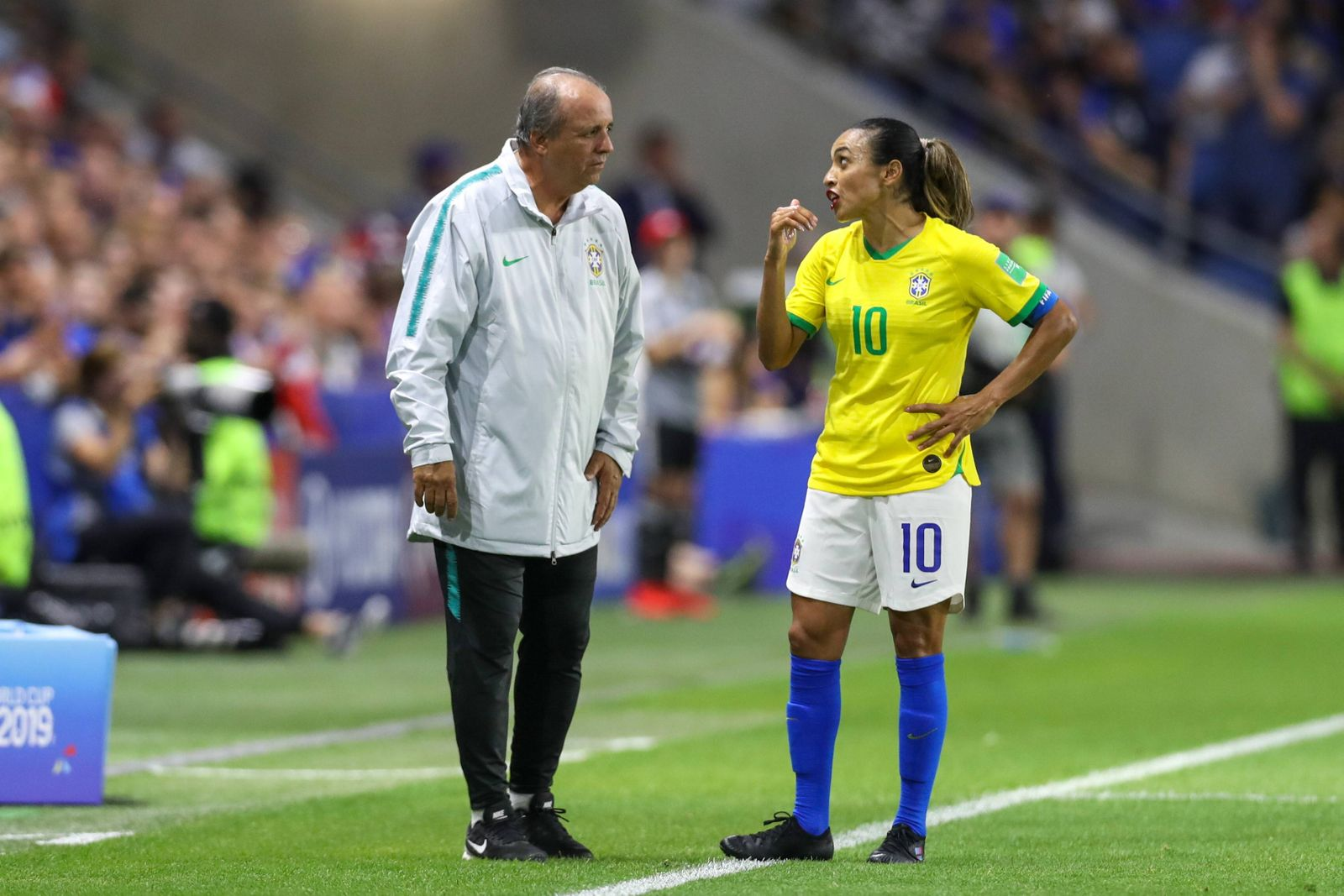 June 23 2019 Le Havre France Vadao and Marta of Brazil during match against France by the Eighth