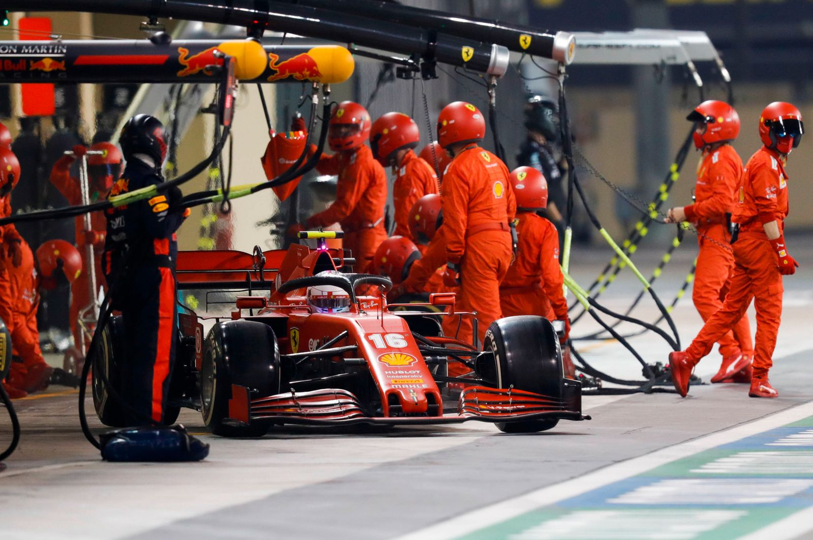 2020 Abu Dhabi GP YAS MARINA CIRCUIT, UNITED ARAB EMIRATES - DECEMBER 13: Charles Leclerc, Ferrari SF1000, leaves his pi