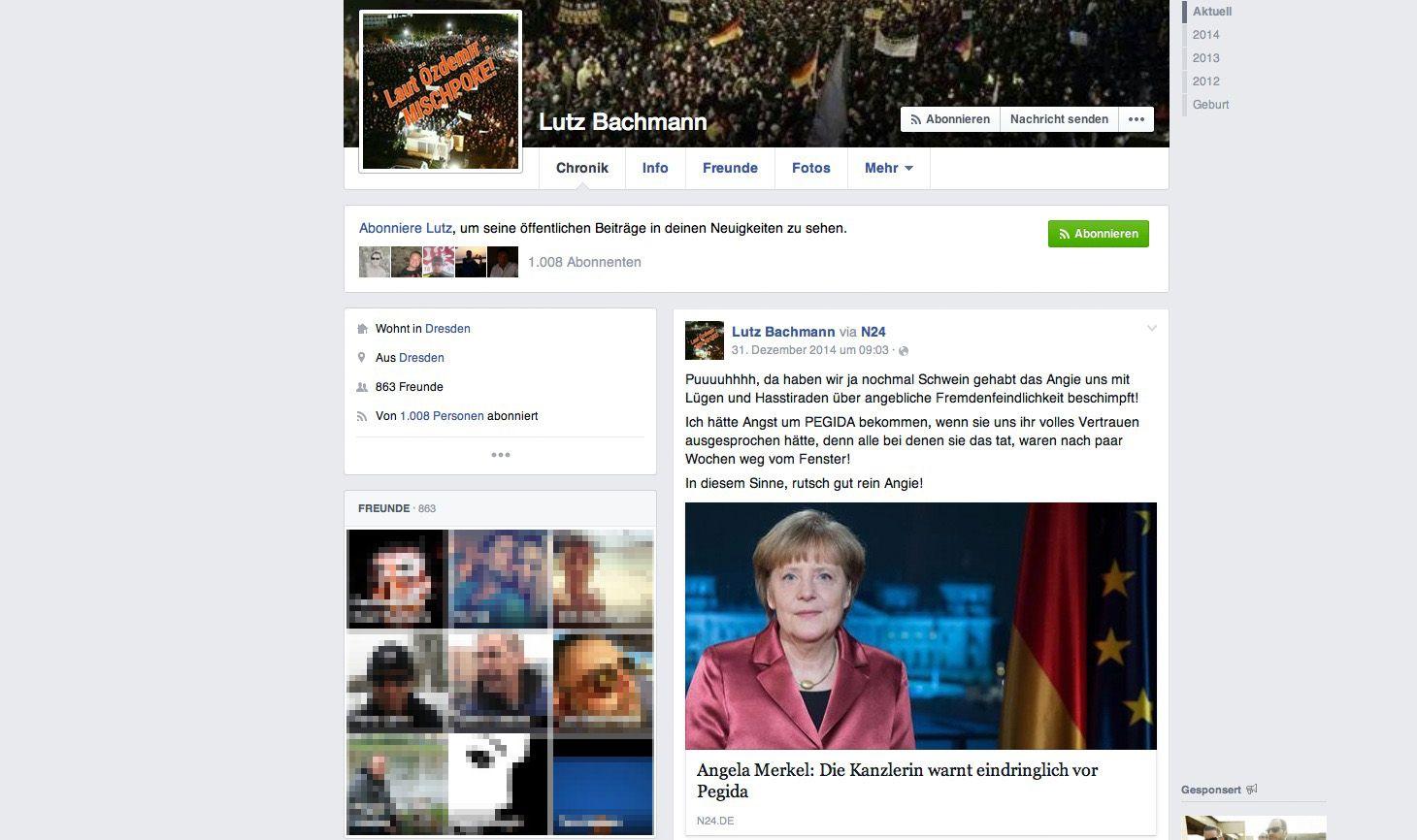 NUR ALS ZITAT Screenshot Lutz Bachmann / Facebook