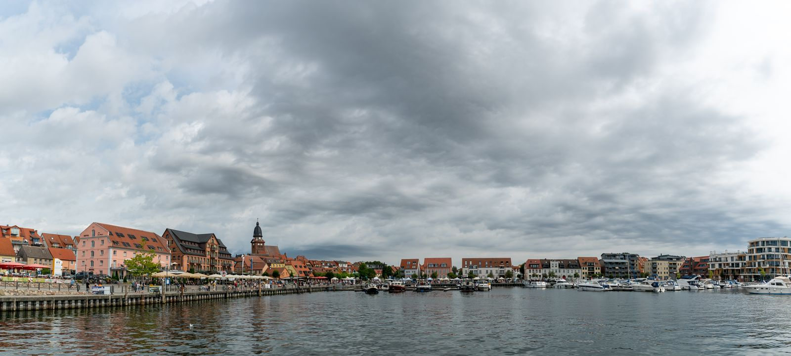 the harbor and old town of Waren on Lake Mueritz in Germany