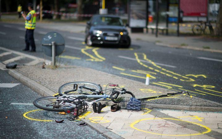 Verkehrsunfall mit Fahrradbeteiligung in Berlin (im August 2015 )