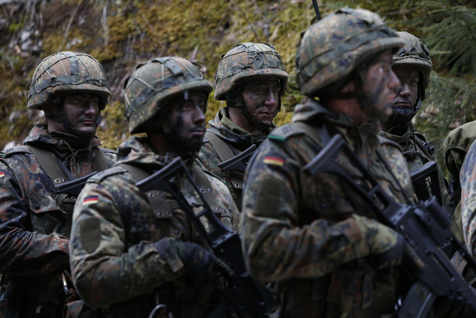 German Bundeswehr army demonstrate their skills at Kaserne Hochstaufen in Bad Reichenhall