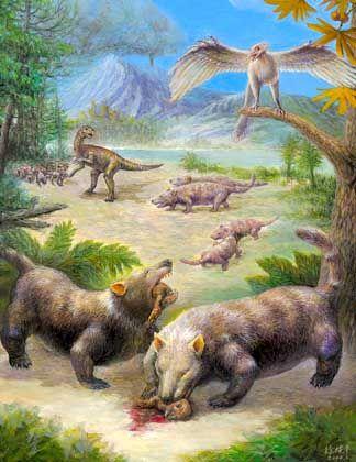 Repenomamus beim Fressen eines Psittacosaurus: Bisheriges Bild vom Mesozoikum auf den Kopf gestellt