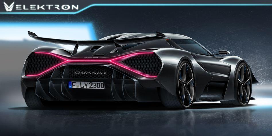 Noch gibt es vom Elektro-Supersportwagen Quasar lediglich Renderings. Doch die Entwicklung läuft, und schon im kommenden Jahr soll das Auto die Rekordjagd aufnehmen.