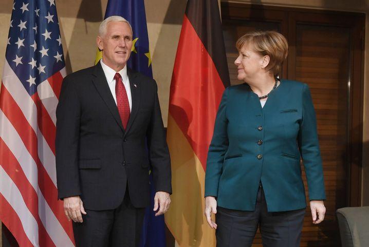 US-Vizepräsident Mike Pence, Angela Merkel