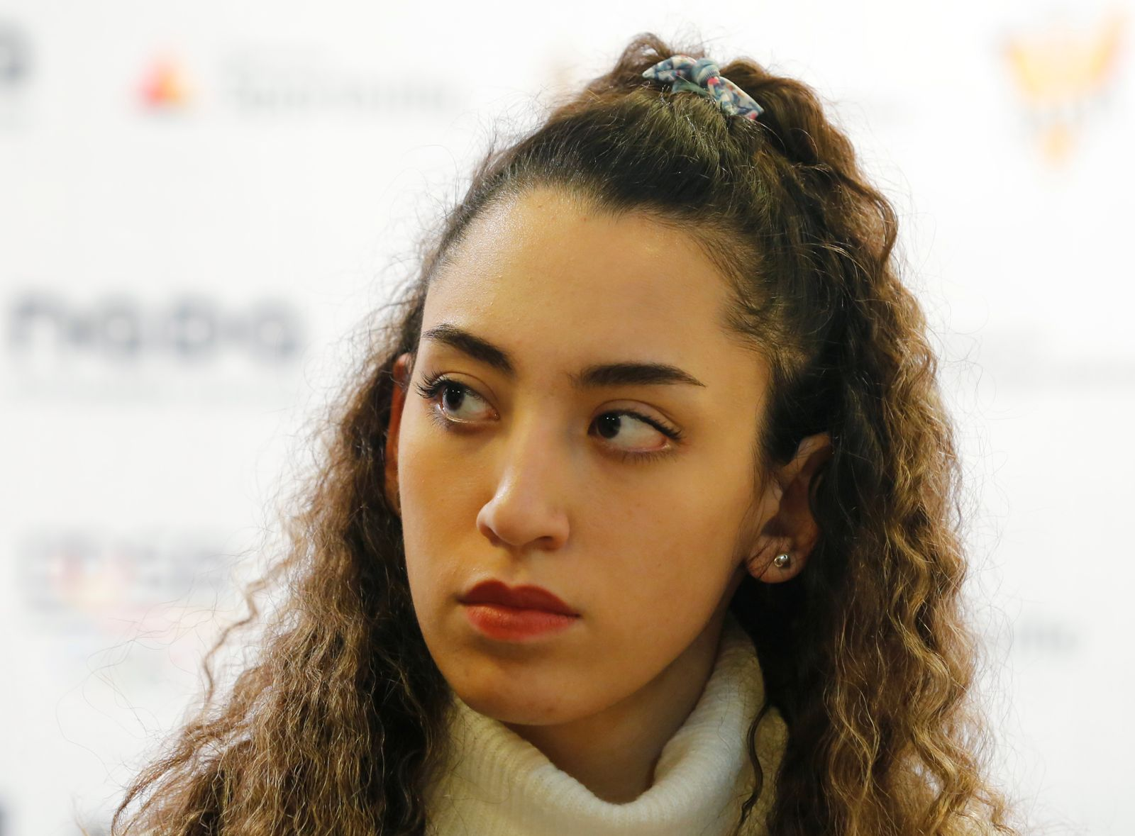 Iran's only female Olympic medallist Kimia Alizadeh holds a press conference