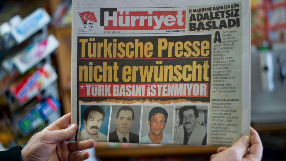 "On issues distributed in Germany this week, Turkey's Hürriyet newspaper included a German-language headline: ""Turkish Press Unwelcome""."