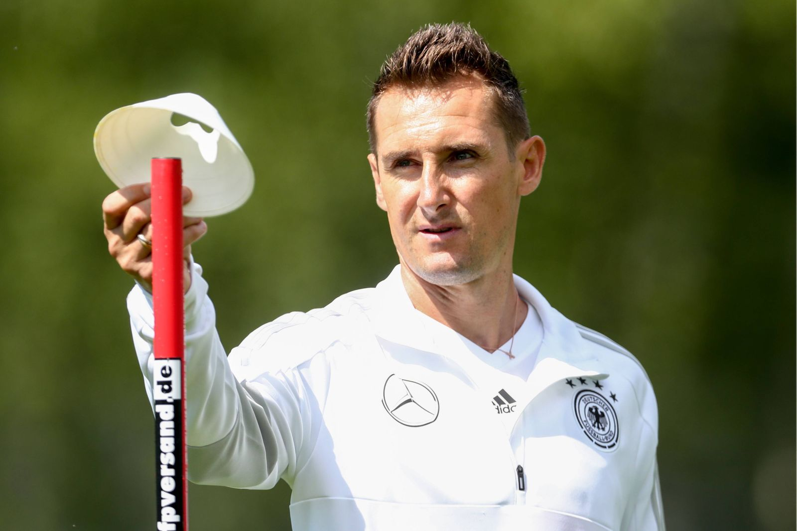 MOSCOW, RUSSIA - JUNE 13, 2018: German retired footballer Miroslav Klose attends a training session of the German men s