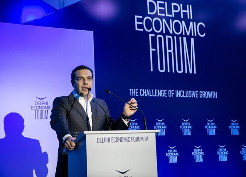 EINMALIGE VERWENDUNG Tsipras Delphi Economic Forum