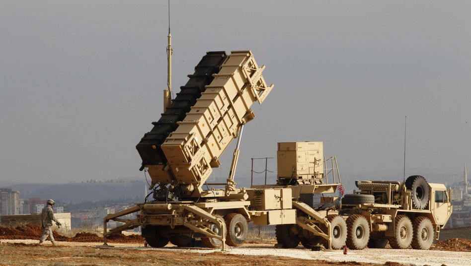 A US Patriot missile defense system is seen at a Turkish military base in Gaziantep.