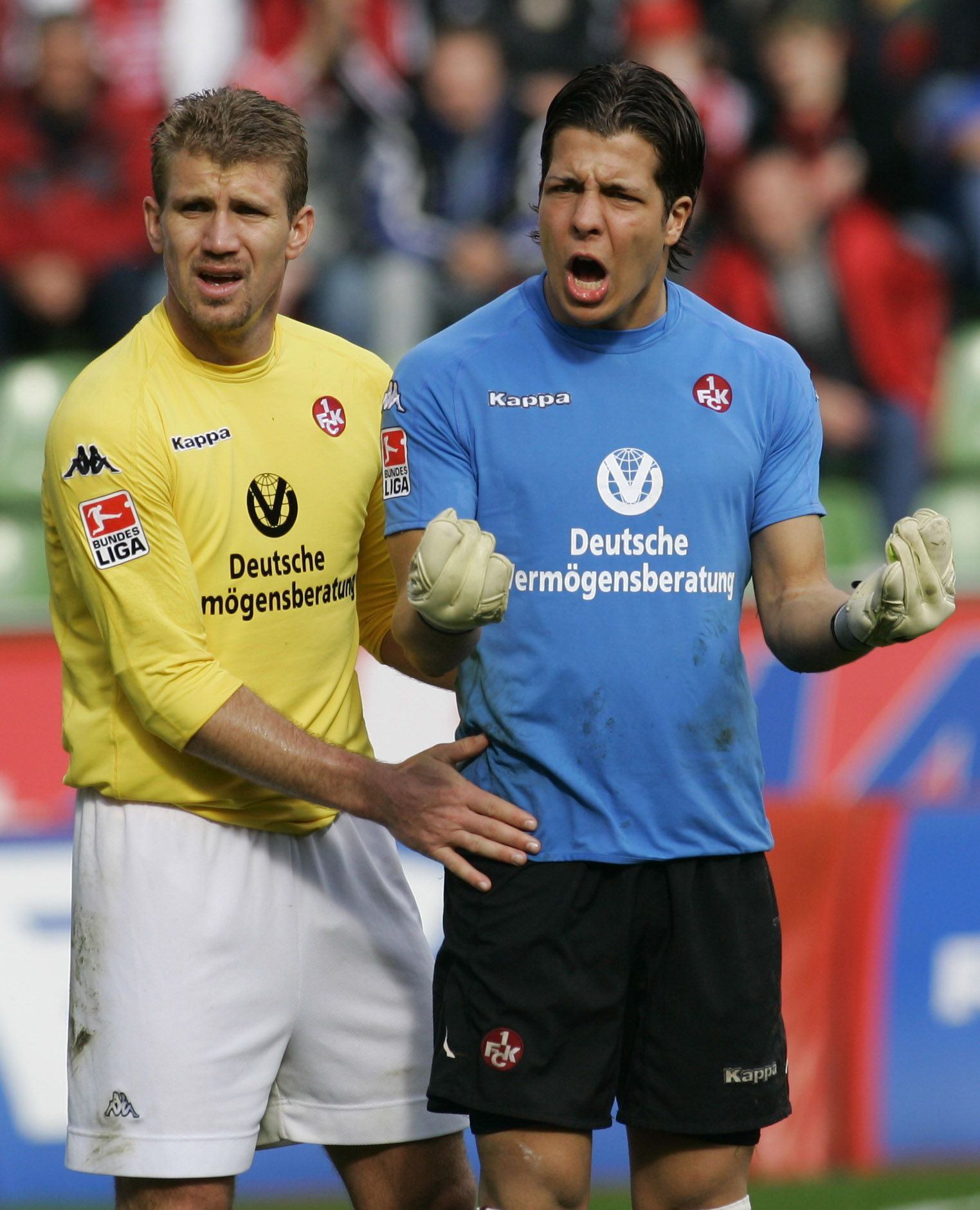 Kaiserslautern's Pletsch and Fromlowitz react during their German Bundesliga soccer match against Bayer Leverkusen in Leverkusen
